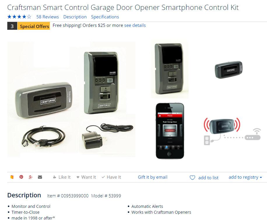 Craftsman Smart Control Garage Door Opener Smartphone Kit Garage